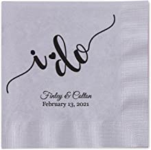 I do Calligraphy Personalized Beverage Cocktail Napkins - 100 Custom Printed Silver Paper Napkins with choice of foil