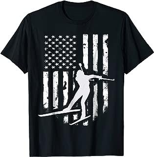 American USA Flag Nordic Ski T-Shirt Cool Skier Gift Top Tee