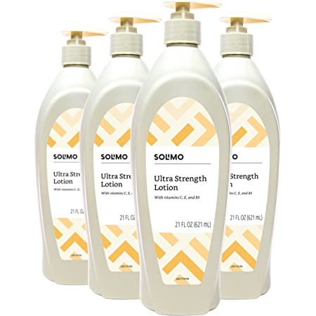 Amazon Brand - Solimo Ultra Strength Lotion with Vitamins C, E & B5, 21 Fluid Ounce (Pack of 4)