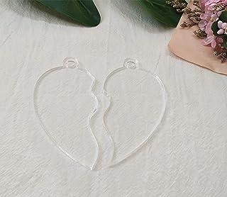 20PCS DIY Clear Blank Acrylic Half Heart Pendant Necklace Keychain Love,Laser Cut Acrylic Clear Heart Blanks (3'')