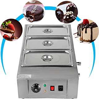 VEVOR Electric Chocolate Melting Pot Machine for Bakeries Cafes and Fountains 26.45lbs Commercial Cocoa Heater, 3 Tanks, Silver