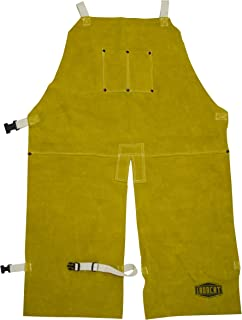 West Chester IRONCAT 7011 Heat Resistant Split Cowhide Leather Welding Split Leg Bib Apron, 24