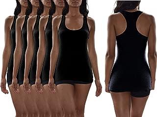 Women's 5 Pack Flat Knit Jersey Flex Racer Back Tank Tops/Cotton -Spandex Stretch Color Tank Tops