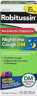 Robitussin Max Strength Nighttime Cough DM Cough Suppressant & Antihistamine Liquid Box, 4 Fluid Ounce