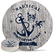 Absorbent Ceramic Coasters for Drinks 4 Diameter Round Water-absorbent Quick-drying Coaster Nautical Anchor Spirit of the Ccean Est 1937 Cup Mats(4 Piece)