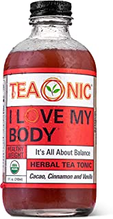 Teaonic I Love My Body, Healthy Weight, Balance and Boost Metabolism, Organic, Natural, Caffeine-Free, Handcrafted Brewed Herbal Unsweetened Tea, Cacao, Cinnamon and Vanilla, 8oz (Pack of 12)