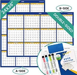YOUNGTION Double-Sided Dry Erase Calendar 2020, 24 x 36 Inches Laminated Huge Dated Yearly Wall Planner, Goes from January 2020 to December 2020, Bonus Markers Eraser Tacks - Blue