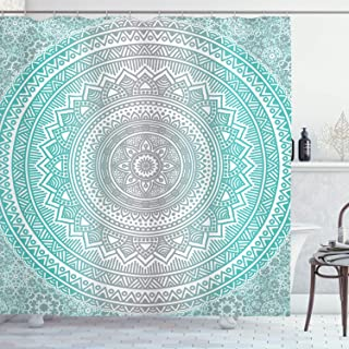(180cm W By 180cm L, Multi 8) - Grey and Aqua Shower Curtain by Ambesonne, Ombre Traditional Universe Symbol with Tribal G...