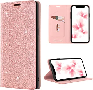 BENTOBEN Case for Samsung Galaxy S8, Luxury Bling Glitter Sparkly Cute Wallet Case, Shiny PU Faux Leather Flip Credit Card Holder Slim Fit Phone Cover with Kickstand for Women, Girls – Rose Gold