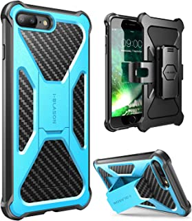 i-Blason Case for iPhone 7 Plus/ 8 Plus 2017, Transformer [Kickstand] [Heavy Duty] [Dual Layer] Combo Holster Cover case with [Locking Belt Swivel Clip] (Blue)