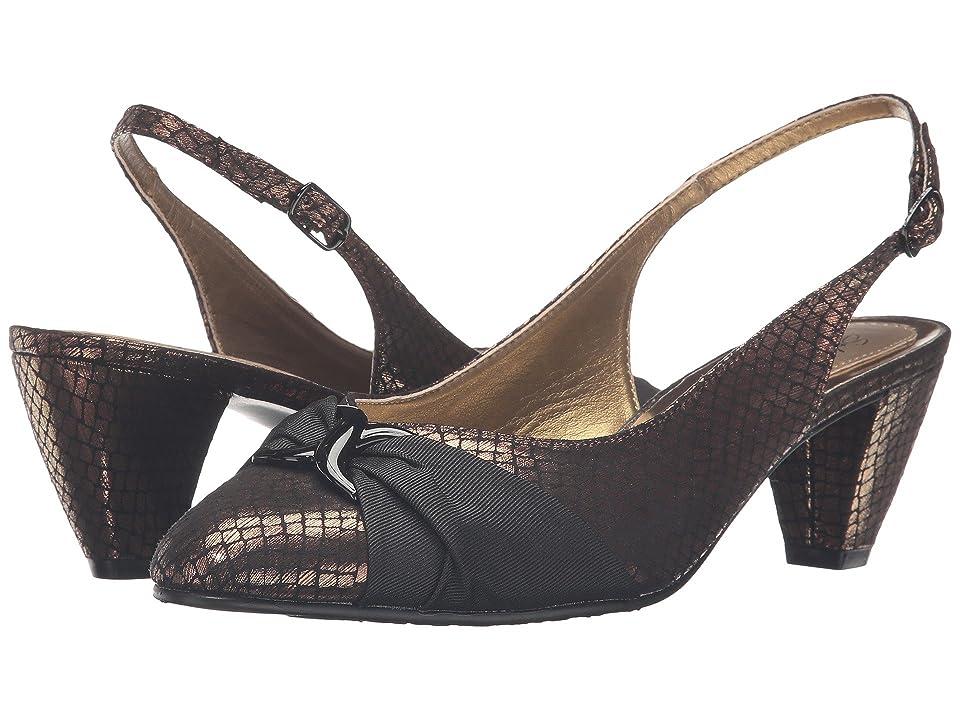 Soft Style Dezarae (Bronze Snake/Black Grosgrain) High Heels