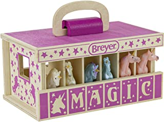 """Breyer Horses Unicorn Magic Wooden Stable Playset with 6 Unicorns 