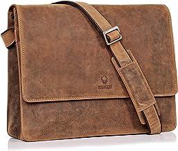 DONBOLSO Barcelona Messenger Bag Leder I Umhängetasche für Laptop I Aktentasche für Notebook I Tasche für Damen und Herren Braun