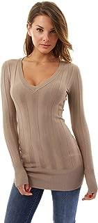 PattyBoutik Women's V Neck Ribbed Tunic Knit Top