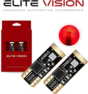 Elite Vision 194 168 T10 192 2825 W5W Titanium Series LED Non-Polarity 400LM Bright Red for Dome Map Courtesy Door License Plate Cargo Lights (Pack of 2) (Red)