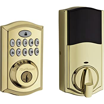 Schlage BE469NX Camelot Electronic Touchscreen Deadbolt C Keyway with 12344 Latch 10116 Strike Bright Brass Finish