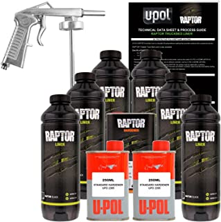 U-POL Raptor Black Urethane Spray-On Truck Bed Liner Kit w/ FREE Spray Gun, 6 Liters