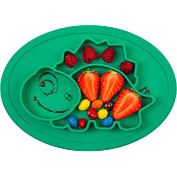 Nooni Care Tovaglietta per Bambini /& Piatto a Suzione Separata Green Piatti per Bambini e Neonati in Silicone Alimentare Stuoie Perfette per lo Svezzamento Autonomo del Neonato maggiore di 6 mesi