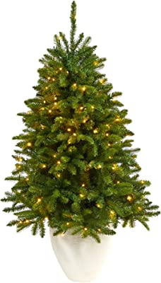 """50in. Sierra Spruce """"Natural Look"""" Artificial Christmas Tree with 150 Clear LED Lights in White Planter"""
