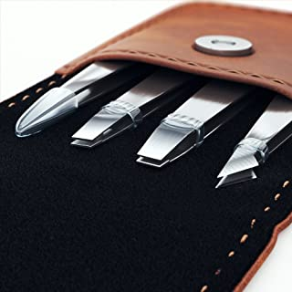 Professional Tweezers Set - 4 Piece Precision Stainless Steel Eyebrow Tweezer Kit with PU leather travel case - Perfect for Facial Hair, Splinters, Ingrown Hairs, Ticks, Blackheads and Eyebrows