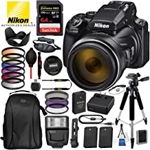 """Nikon COOLPIX P1000 Digital Camera with 125x Optical Zoom USA (Black) 16PC Accessory Bundle Package – Includes SanDisk 64GB Extreme Pro SDHC Memory Card + 2X Extra Battery + 57"""" Tripod + More"""