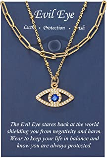 Dainty Layered Evil Eye Necklaces for Women Amulet Layering Choker Necklace Ojo Turco Layering Pendant Kabbalah Protection...