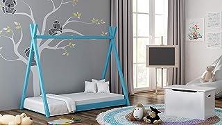 TIPI barnsäng barnkammare tält säng massivt trä 5 färger (blå, 160 x 80 cm)
