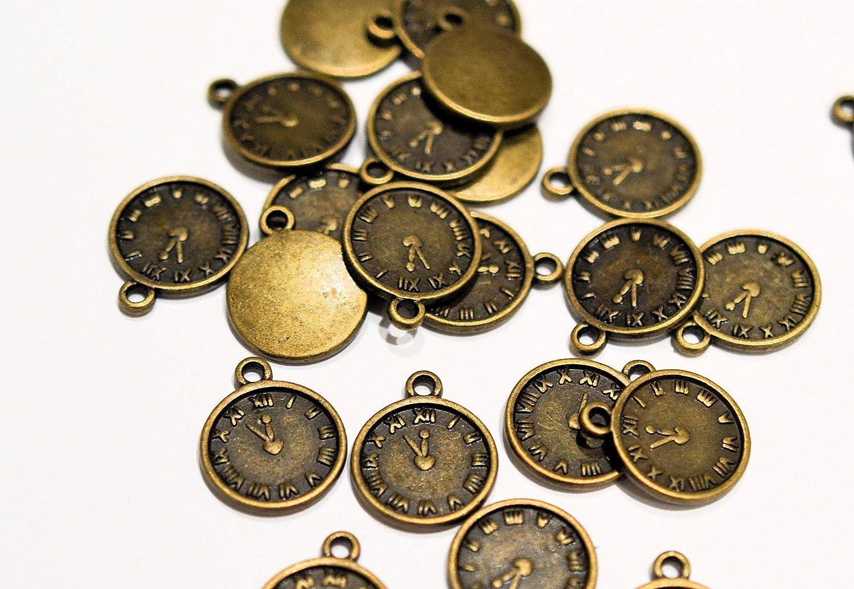 12 x Tibetan Antique Bronze Colour Clock Watch Charm Charm Charm Pendants Attachment rings included by AC Crafts B00M0UVITK   Won hoch geschätzt und weithin vertraut im in- und Ausland vertraut  9e106a