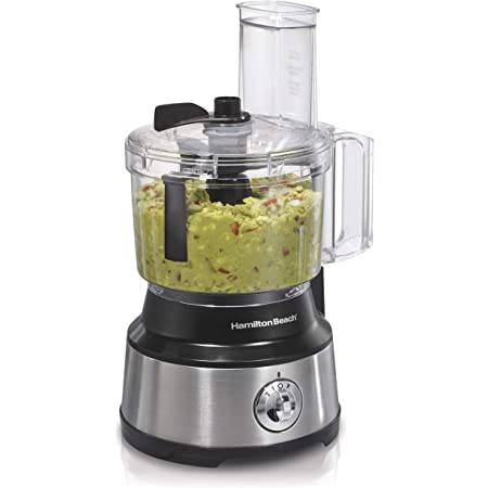 Hamilton Beach Food Processor & Vegetable Chopper for Slicing, Shredding, Mincing, and Puree, 10 Cups - Bowl Scraper, Stainless Steel