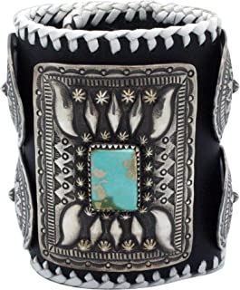 Ray Betsoi, Bracelet, Sandcast, Kingman Turquoise, Old Style, Navajo Made, 6.75
