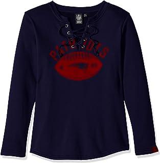 Icer Brands NFL New England Patriots Women's Fleece Sweatshirt Lace Long Sleeve Shirt, Large, Navy