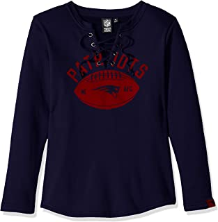 Icer Brands NFL New England Patriots Women's Fleece Sweatshirt Lace Long Sleeve Shirt, Large, Navy