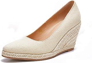حذاء نسائي بكعب عالٍ من Ruanyu صندل بكعب عريض سهل الارتداء بمقدمة مغلقة من الأمام بكعب عالٍ