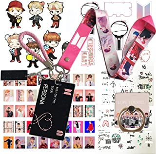 Gifts Set for Fans - 40Pcs Lomo Cards, 1 ID Card Badge Holder, 1 Lanyard, 1 Phone Finger Ring Stand, 1 Keychain, 1 Wrist Strap, 2 Tattoo Stickers, 2 3D Stickers