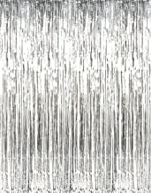 Asunflower 6.5Ft MetallicTinsel Silver Foil Fringe Curtains Backdrop Christmas Hanging Streamers for Party/Prom/Birthday Favors