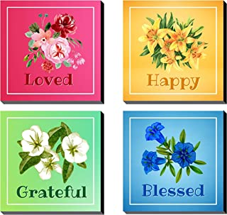 Poylaamo Colorful Quotes Painting for Living Room, Home, Office. Size 7.5X7.5 inches each. (Multi Flower)