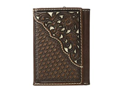 M&F Western Nocona Filagree Corner Overlay Trifold Wallet (Brown/Ivory) Handbags