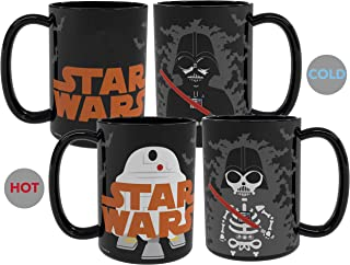 Zak Designs Star Wars Ep4 Unique Color Changing Ceramic Coffee Mug with Ceramic Spoon, Collectible Keepsake and Wonderful Coffee Mug (15oz, Darth Vader & R2D2, BPA-Free)
