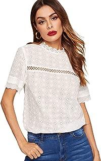 Women's Short Sleeve Mock Neck Sheer Crochet Plain Lace Top Blouse