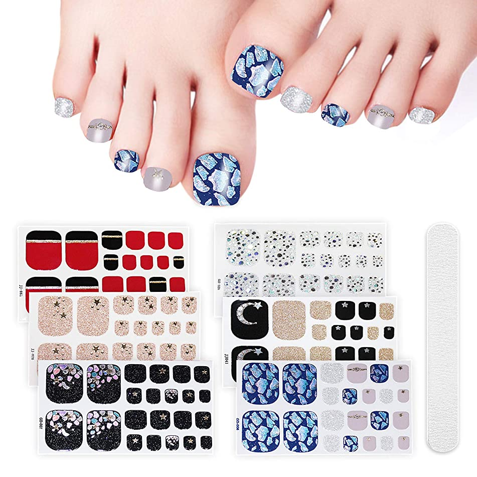 6 Sheets Full Toe Nail Wraps Art Polish Stickers Decal Strips Adhesive False Nail Design Manicure Set With 1Pc Nail Buffers Files?For Women Girls