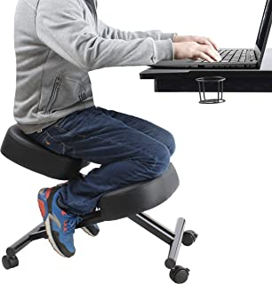 Ergonomic Kneeling Chair Home Office Chairs Thick Cushion Pad Flexible Seating Rolling Adjustable Work Desk Stool Improve Posture Now & Neck Pain - Comfortable Knees and Straight Back (Renewed)