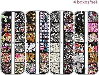 4 Boxes Total 48 Grids Nail Art Rhinestones Crystals Flat Back Gemstones Variety Nail Art Rhinestones 3D For Nails Decoration Makeup Clothes Shoes