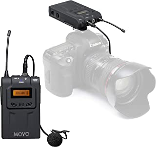 Movo Wireless UHF Lavalier Microphone System Compatible with Canon EOS 80D, 77D, 70D, 60D, 7D, Mark II, 6D, 5DS, R, 5D, 5D Mark IV, 1D, Digital Rebel SL1, T7i, T6s, T6i, T5i, T4i and T3i DSLR Cameras