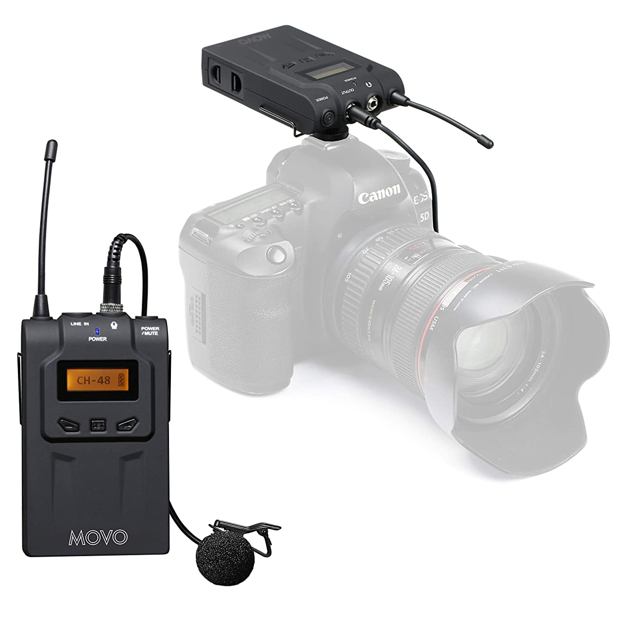 Movo Wireless UHF Lavalier Microphone System for Nikon D850, D810, D800, D750, D610, D600, D500, D7500, D7200, D7100, D5600, D5500, D5300, D5200, D3400, D3300, D3200, D4, D5 DSLR Cameras