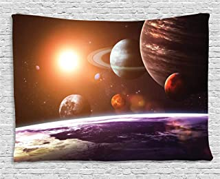 Ambesonne Galaxy Tapestry, Space Theme View of The Planets from Earth Science Room Art with Sun and Moon, Wide Wall Hanging for Bedroom Living Room Dorm, 60