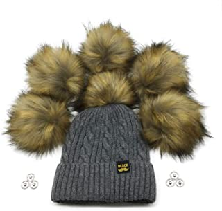 FurryValley Faux Fur Pompom 6pcs DIY Crafts Fluffy Balls for Hat Shoes Scarves with Snap Fastener Removable Knitting Hat Accessories 6 Inch Extra Large(Brown)