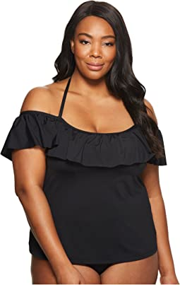 BECCA by Rebecca Virtue - Plus Size Color Splash Tankini Top