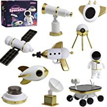 Top Right Toys Space Set Kids Pretend Play - 10 Piece Set with Rocket, Shuttle, Spaceship and Space Station