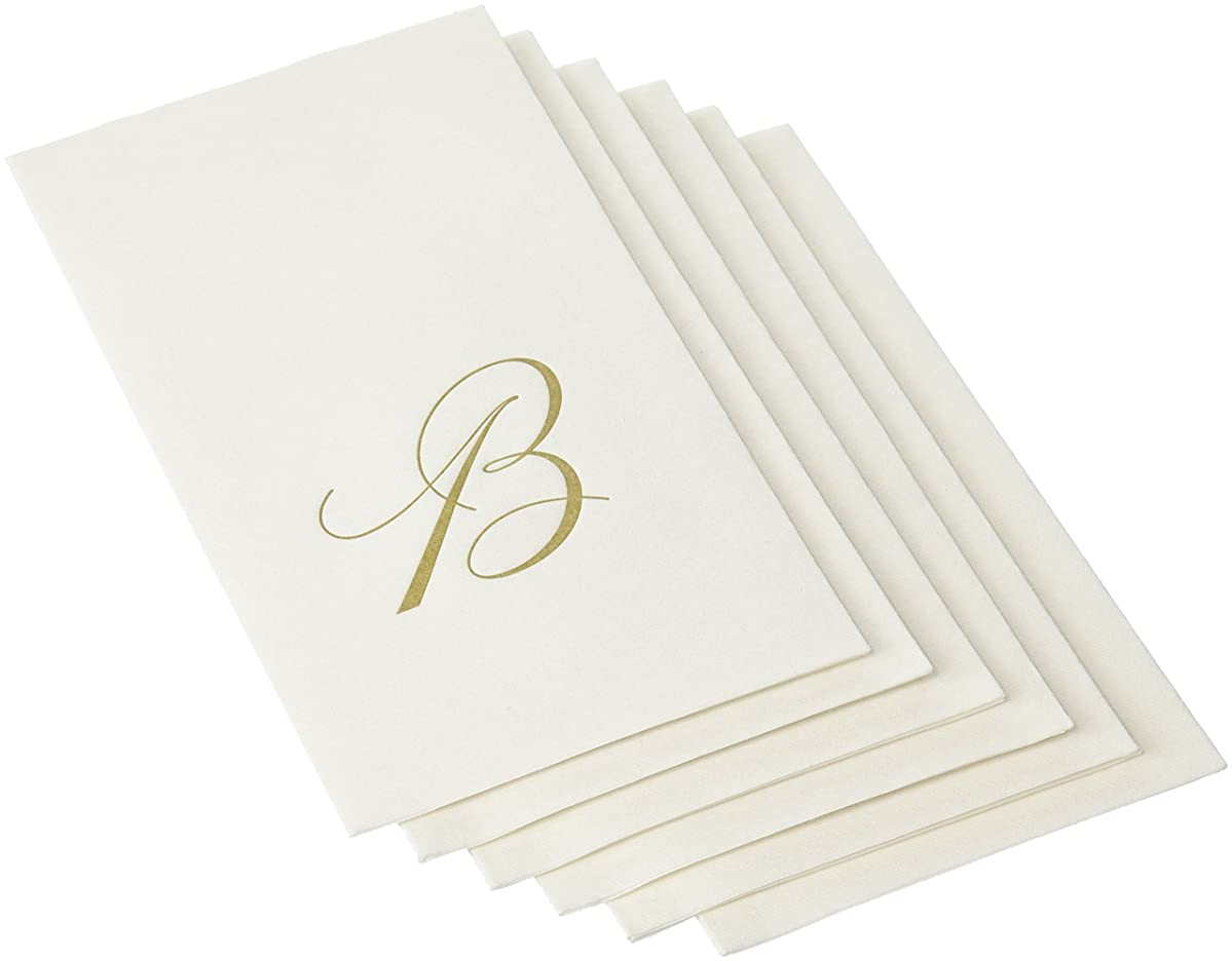 Entertaining with Caspari White Pearl Paper Linen Guest Towels, Monogram Initial B, Pack of 24