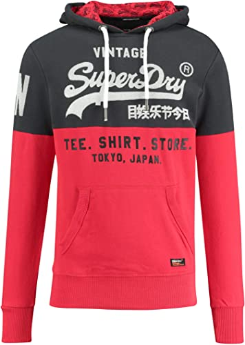 Superdry - Sweat-Shirt à Capuche - Homme noir Eagle rouge
